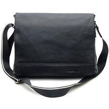 """Men's Soft Real Leather 13"""" Laptop Bag  Shoulder Messenger Bag Black School bag"""