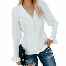Women's Casual Blouse Solid V-neck Slim Fit Shirt Long-sleeved Corset Work Top