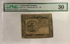 1777 $5 Five Dollar Continental Currency Fr#CC-58 PCGS Very Fine 30