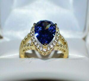 7.67 ct PREMIUM AAA TANZANITE & 36 DIAMONDS WEDDING GYPSY 14K Y GOLD PLATED 7