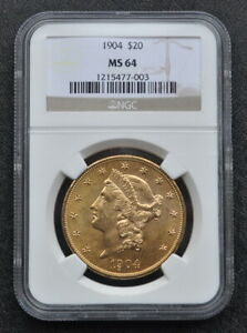 1904 $20 GOLD DOUBLE EAGLE GLEAMING NGC GRADED MS 64 GOLD $20 COIN FREE SHIPPING