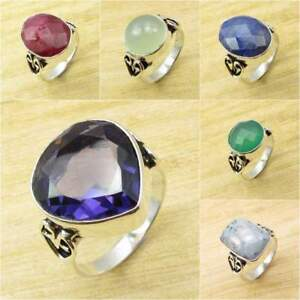 Choose Your Size, 925 Silver Plated AMETHYST & Other Gemstone Variations Ring