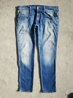Mens Replay ANBASS Slim Fit Hyperflex Blue Ripped Stretch Jeans W36 L32