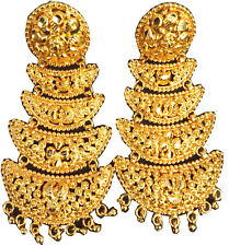 Indian Earrings Set 22K Gold Plated 3 Steps Bollywood Natural Fashion Daily Use