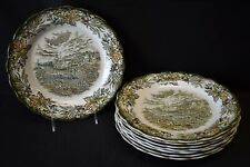 Ridgway England Heritage Green Multicolor Set of 8 Dinner Plates (Faults)