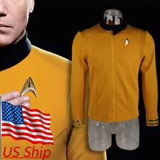 KIRK Command GOLD Shirt uniform costume star trek 2009 with Fleet Badge Insignia