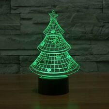 3D Lamp Christmas Tree Optical Illusion Led Night Light 7 Colors Touch Switch