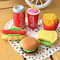 Novelty Cute Food Rubber Pencils Erasers Set Stationery Children Toy Gifts、New
