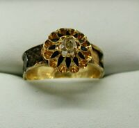 Edwardian 18 Carat Gold Lemon Diamond And Black Enamel  Mourning Ring Size R