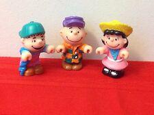 3 Vintage Peanuts Gang Pocket Dolls FigurinesCharlie Brown Lucy Linus