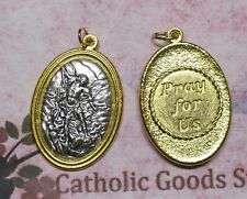 St. Saint Michael  - Pray for Us - Gold & Silver Tone Italian 1 3/4 inch Medal