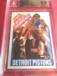 1989-90 Hoops World Champion Detroit Pistons  #353B BGS 8.5