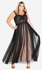 CITY CHIC maxi long dress retro vintage look evening formal twist black XS 14 16