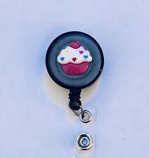Cupcake Retractable Reel ID Badge Holder Nurse Alligator Belt Lanyard RN CNA TEC