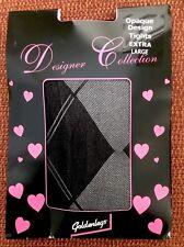 Goldenlegs Black Opaque Designer Collection Argyle Tights/Pantyhose, XL, BNWT