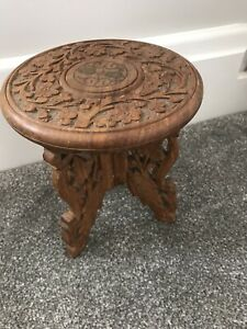 small retro vintage indian carved wood inlaid plant stand table folding legs