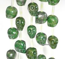 """12MM IRON PYRITE WITH INTRUSION GEMSTONE CARVED SKULL HEAD 12MM LOOSE BEADS 7"""""""