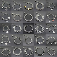 Mens Silver Stainless Steel Bracelet Cuff Wristband Bangle Punk Chain Link Charm