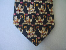 Mens BROOKS BROTHERS Silk Olympic Flame Bear Neck Tie Navy Blue Made in the USA