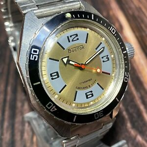 Soviet Diver Watch Amphibian VOSTOK 2409 WOSTOK Mechanical Men's Gold Dial