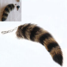 Lovely Fox Racoon Tail Keychain Fur Pendant Bag Purse Car Holders Couple Keyring