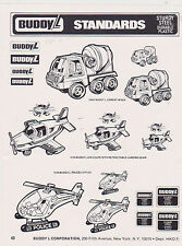 VINTAGE AD SHEET #2442 - 1980s BUDDY L TOYS -  STANDARDS - CEMENT MIXER etc