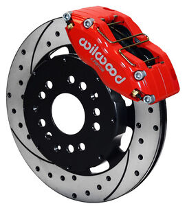 WILWOOD DISC BRAKE KIT,FRONT,MITSUBISHI ECLIPSE,RED,DRILLED ROTORS