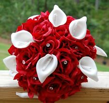 wedding bridal bridesmaid bouquet red roses white calla lilies diamond Quinceane