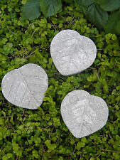 Miniature Dollhouse FAIRY GARDEN ~ Set of 3 Leaf Pavers Stepping Stones NEW