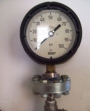 New Wika Process Gauge, Glycerin Filled, 100 PSI, Brass Internals with Seal