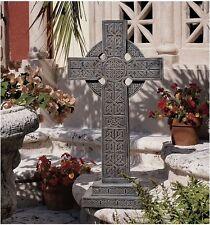 "28"" Iconic Mystical Knotwork Embellished High Celtic Cross Home Garden Sculpture"