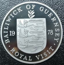 1978 BAILIWICK OF GUERNSEY ROYAL VISIT CROWN - Twenty-Five Pence - .925 SILVER