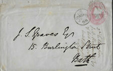 LONDON : 1858 dated 1d postal stationery envelope to Bath