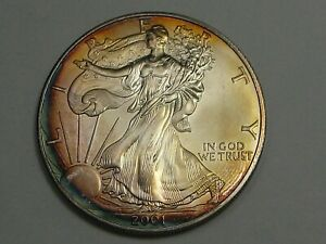 Gorgeous Golden Rainbow Toned Silver 2001 Silver American Eagle.  #11
