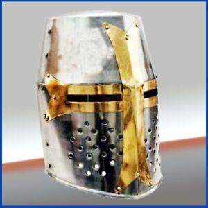 Knight Armor Crusader New Templar Helmet Helm w/Mason's Brass Cross