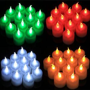 12X LED White Flashing Tea Light Battery Electric Candle Lamp Xmas Wedding