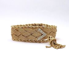 Retro 14k Gold Geneva 17 Jewels Braided Mesh Rope Bracelet Diamond Tassels Watch