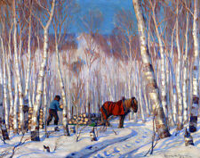 Gagnon Clarence Horse March In The Birch Woods Canvas 16 x 20    #3291