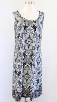 Chicos Black Multi Color Geometric Medallion Print Jersey Shift Dress Size 1