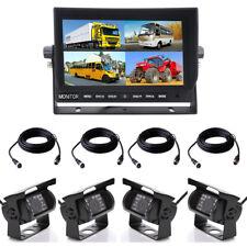 4x Rückfahrkamera mit und Split Quad Monitor 12V-24V LKW Auto Rückfahrsystem 4CH