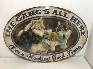 "Rivers Edge Products The Gang's All Here Tin Sign 12""x17"""