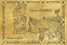 Game of Thrones Poster - Westeros & Essos Karte - Antik Design 91,5 x 61 cm