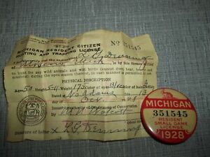 1928 - Michigan Resident Small Game License with Paper License- Vintage Hunting
