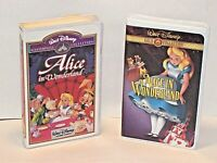 Disney VHS 2 Tapes- ALICE IN WONDERLAND Masterpiece + Gold Collections