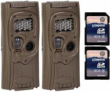 (2) CUDDEBACK F2 IR Plus 1309 Infrared Trail Game Hunting Cameras + SD Cards