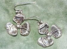 1 Pair Silver Tone Antiqued Pacific Island Style Flower Dangle Earrings Used