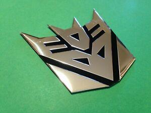 adesivo 3d transformers decepticon logo auto moto cromato stemma sticker chrome