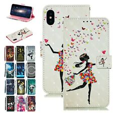 Pattern PU Leather Magnetic Wallet Stand Flip Case Cover For iPhone XS XR 8/7 6s