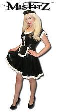 Misfitz black /white rubber latex maids dress sizes 8-32/eu36-60/made to measure