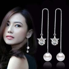 Muye 925 Sterling Silver Star Zircon Pearl Dangle Tassel Earrings Ear Line Women